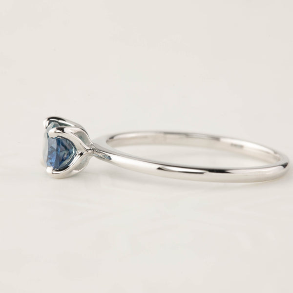 Sara Ring -1.00ct Parti Blue Green Montana Sapphire, 14k White Gold (One of a kind)