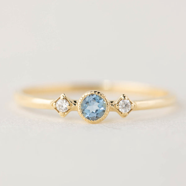 March - Aquamarine Star & Moon Ring