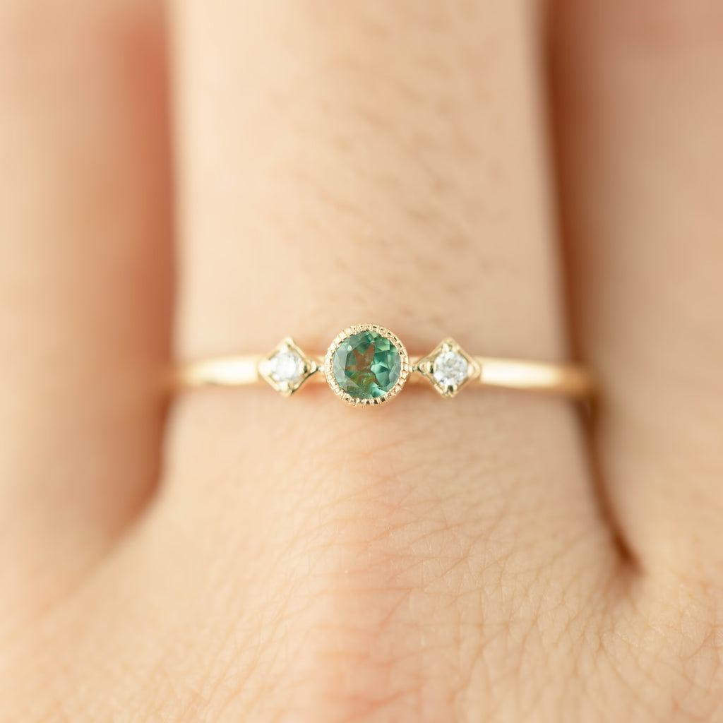 June - Alexandrite Star & Moon Ring