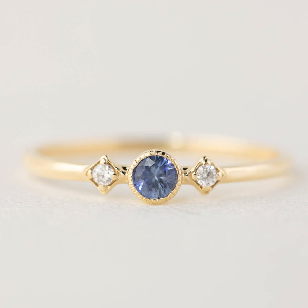 September - Blue Sapphire Star & Moon Ring