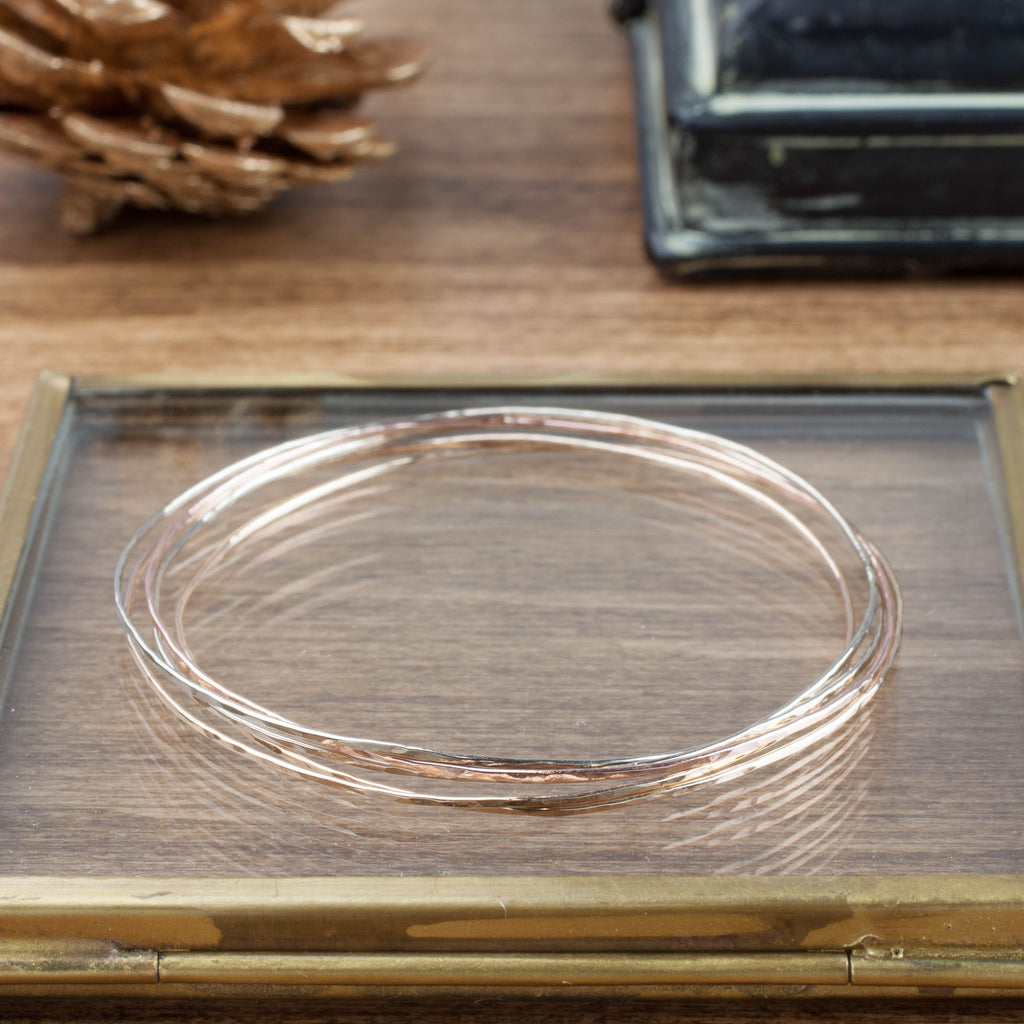 Gold Streaks Hammered Bangle (Set of 3 bangles)