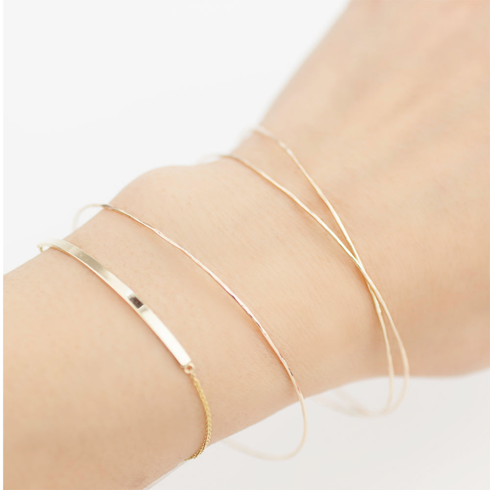 Gold Streaks Hammered Bangle - 1 piece