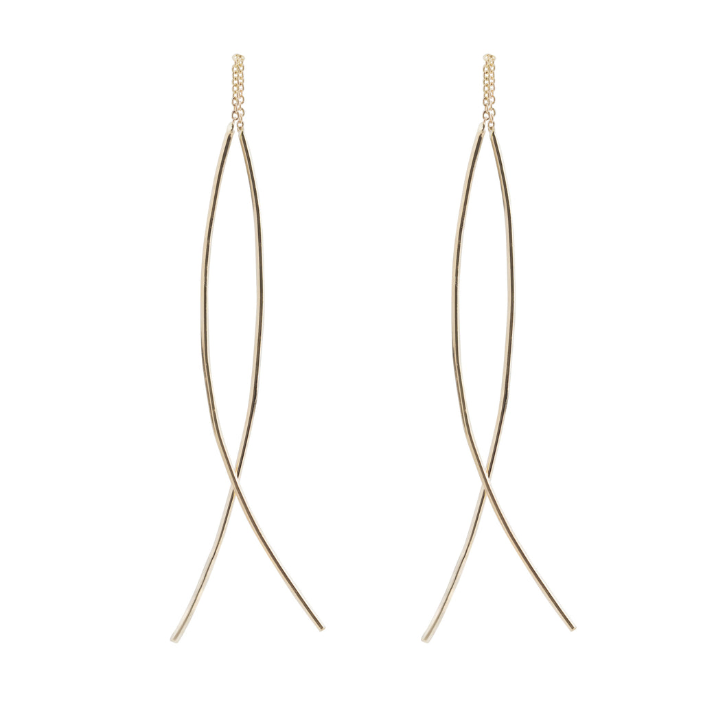 Gold Streaks Swing Earrings