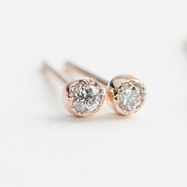 Dahlia Diamond Stud Earrings - 0.03~0.24ctw