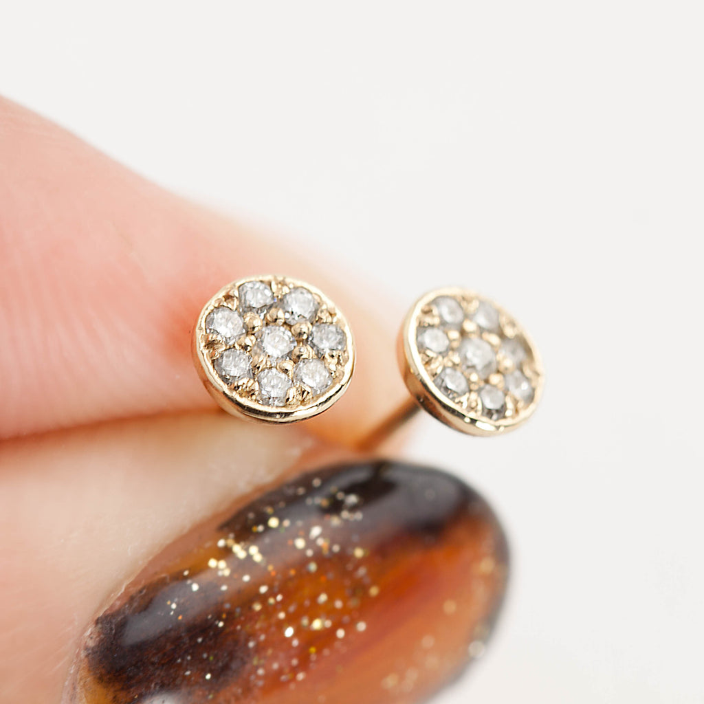 Pave Diamond Moon Studs