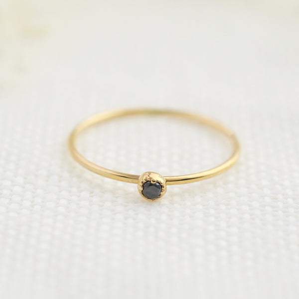 Dahlia Solitaire Ring - Black Diamond