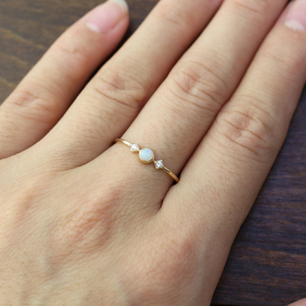October - Opal Star & Moon Ring
