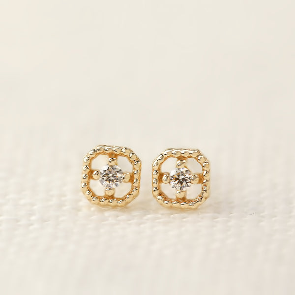 Milgrain Square Diamond Studs
