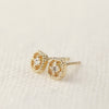 Milgrain Square Diamond Studs -0.08ctw