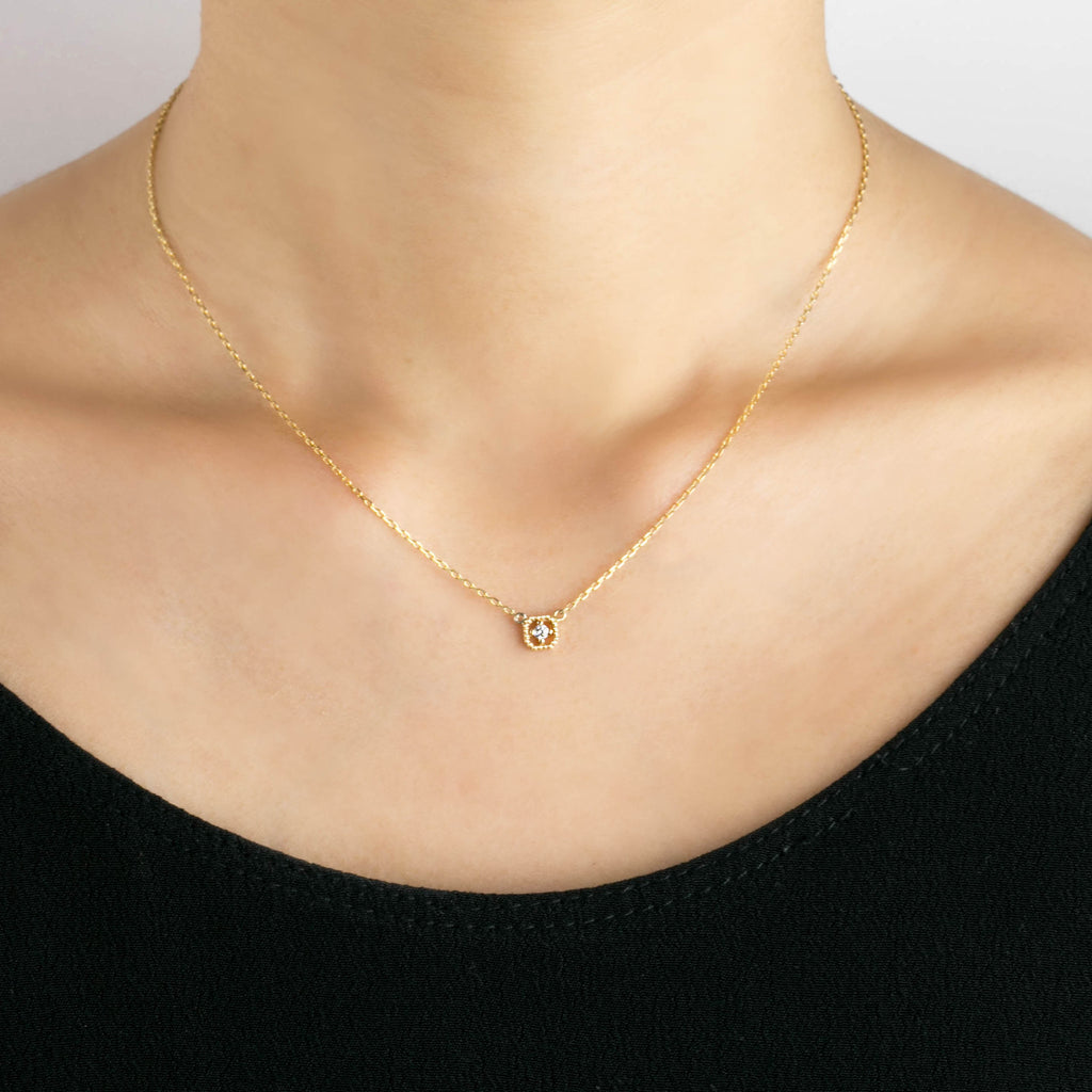 Milgrain Square Diamond Necklace