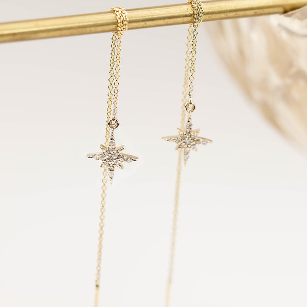 Starburst Diamond Threader Earrings