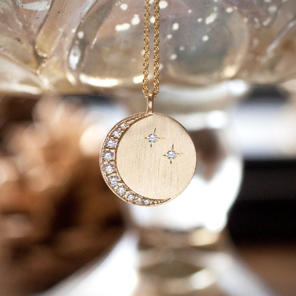 Personalized Crescent Necklace - Diamond or Engraving