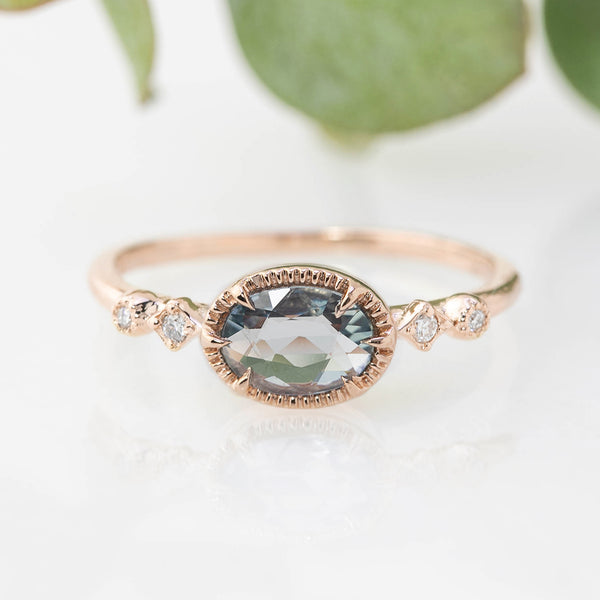 Stella Ring - 0.8ct Blue Sapphire, 14k Rose Gold (One of a kind)