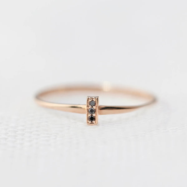 Three Black Diamond Bar Ring