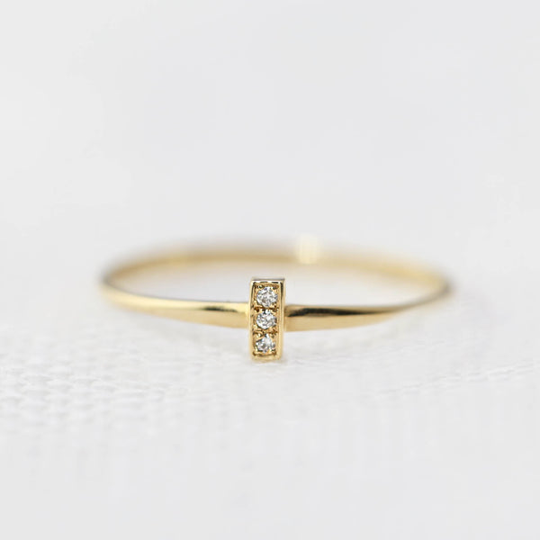 Three Diamond Bar Ring