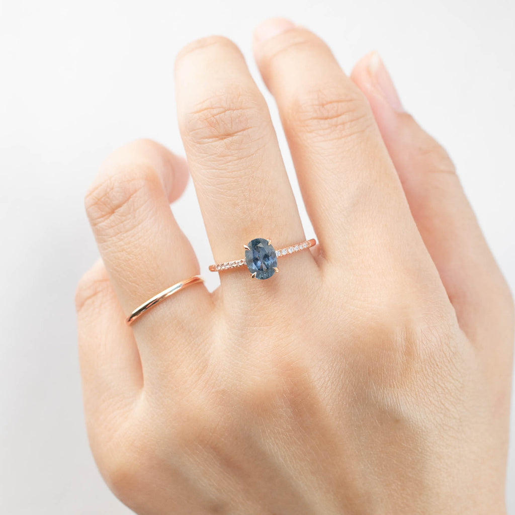 Audrey Ring - 1.38ct Teal-blue Montana Sapphire, 14k Rose Gold (One of a kind)