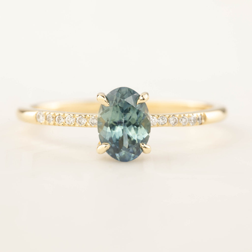 Audrey Ring - 0.99ct Light Blue Green Montana Sapphire (One of a kind)