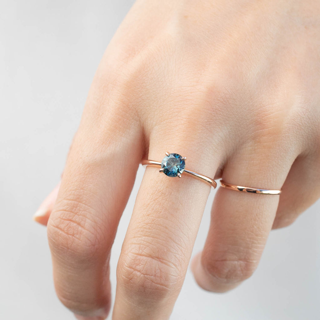 Jane Ring - 1.09ct Teal-Blue Montana Sapphire, 14k Rose Gold (One of a kind)
