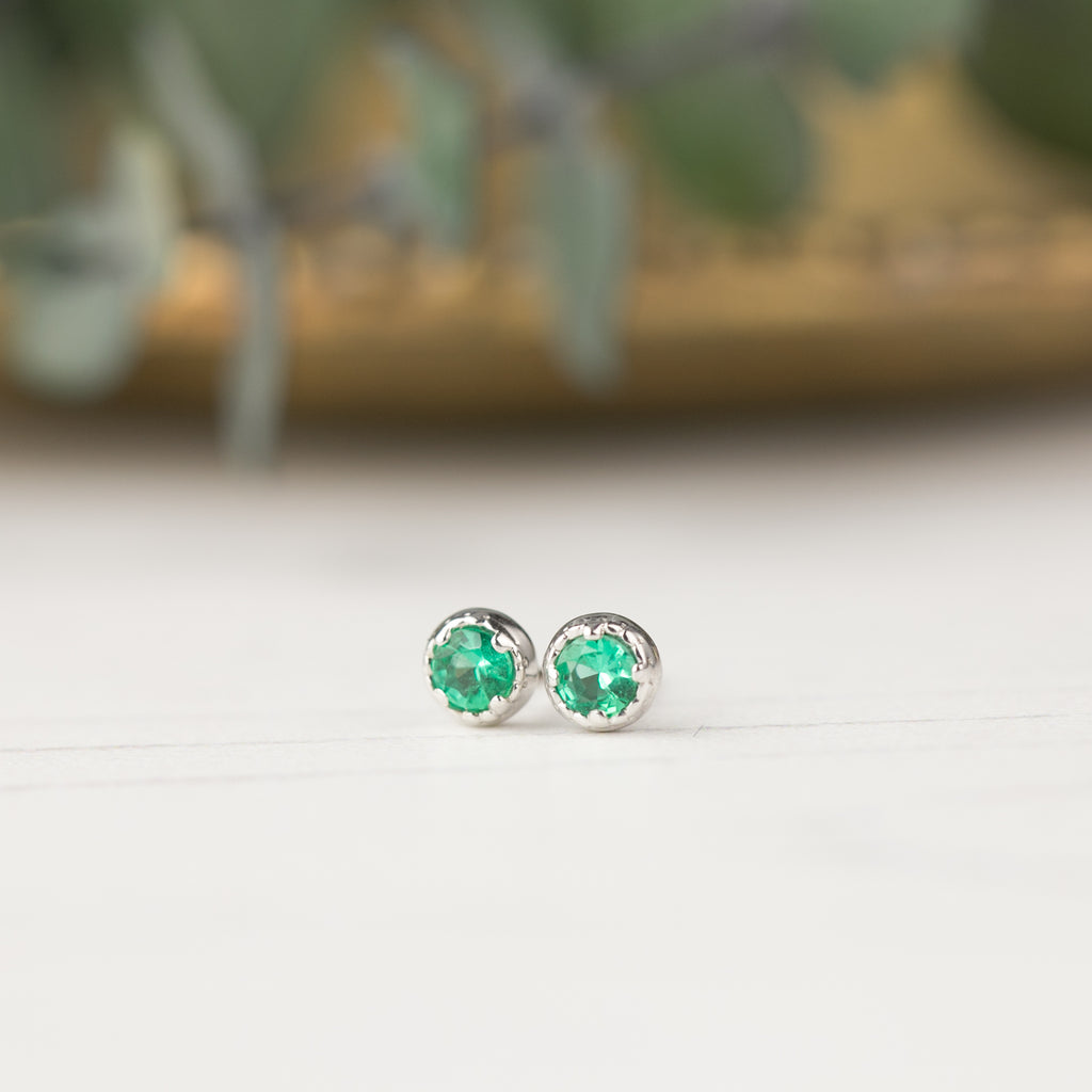 Dahlia Stud Earrings - Emerald