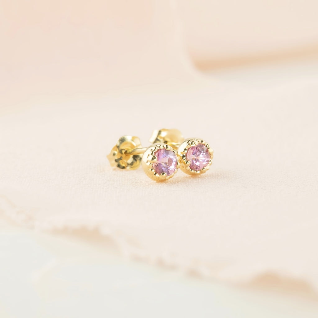 Dahlia Stud Earrings - 3mm Pink Sapphire