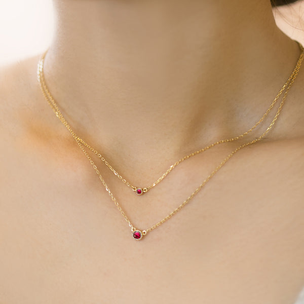 Dahlia Ruby Solitaire Necklace