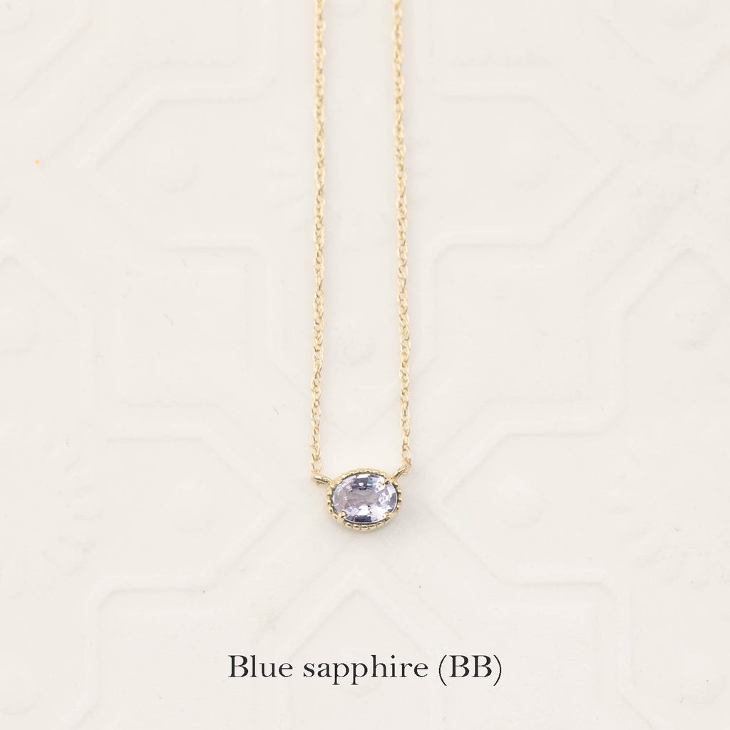 Natural Sapphire Solitaire Dahlia Necklace (One of a kind)