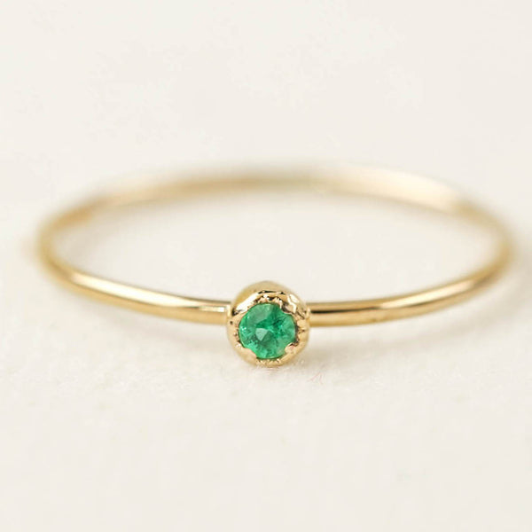 Dahlia Solitaire Ring - Emerald