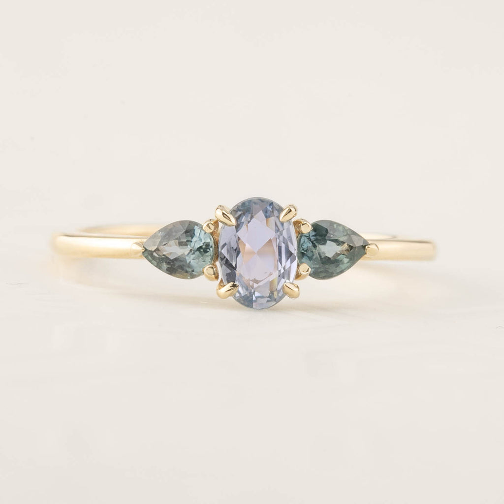 Blue Sapphire Three Stone Ring (One of a kind)