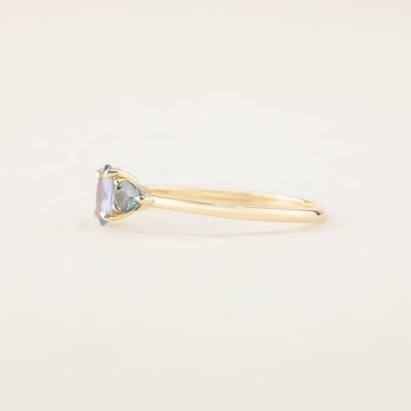 Blue Sapphire Three Stone Ring (One of a kind, B)