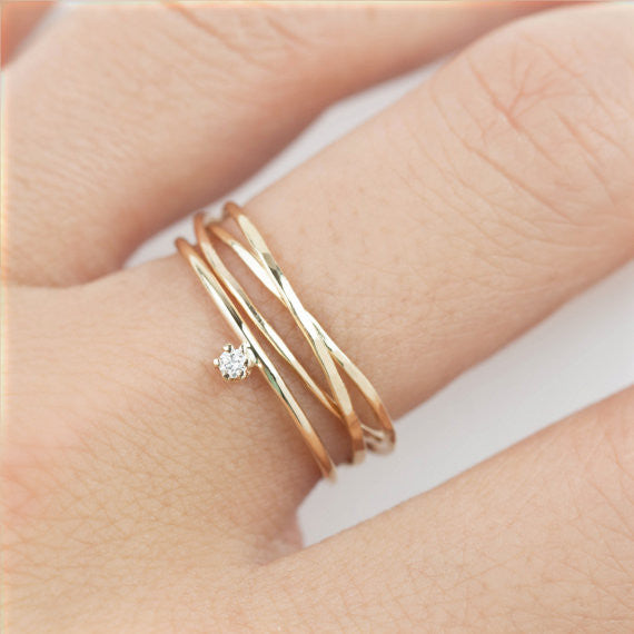 Gold Streaks Trinity Ring & Diamond Ring (set of 2)