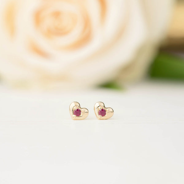 Tiny Heart Ruby Studs