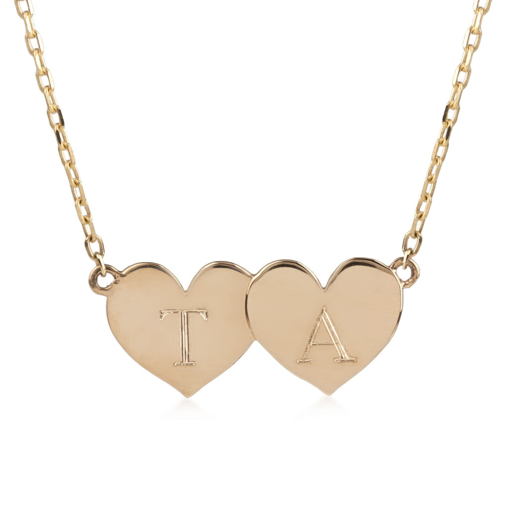 Two Initial Heart Necklace (Medium)