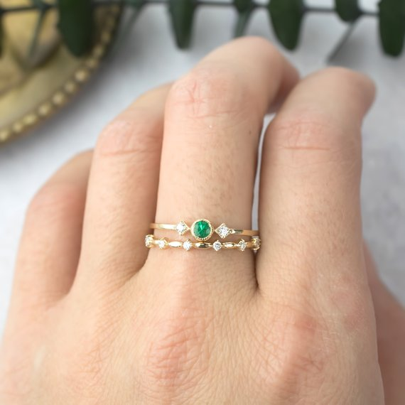 May - Emerald Star & Moon Ring