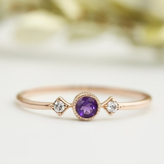 Star & Moon Ring - Amethyst