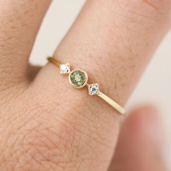 August - Peridot Star & Moon Ring