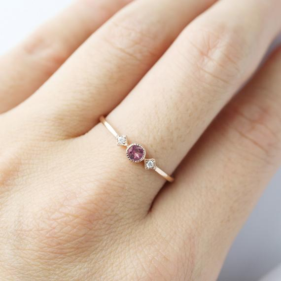 January - Rhodolite Garnet Star & Moon Ring