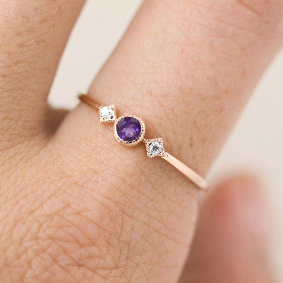 February - Amethyst Star & Moon Ring