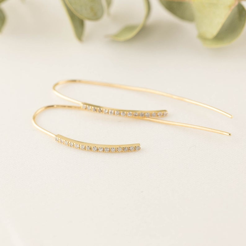 Diamond Bar Dangle Earrings