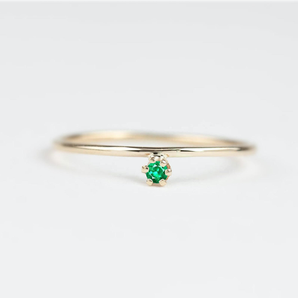 Custom Order - Gold Streak ring with 3mm Emerald, 14k yellow gold