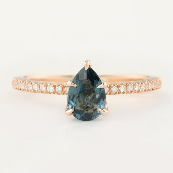 Maria Ring - 0.94ct Pear Cut Teal Tourmaline Sapphire (One of a kind)
