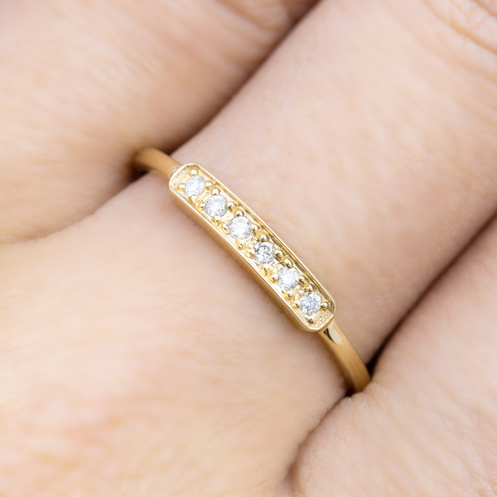 Curved Bar 6 Stone Ring