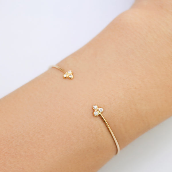 Dahlia Diamond Trio Open Cuff Bracelet