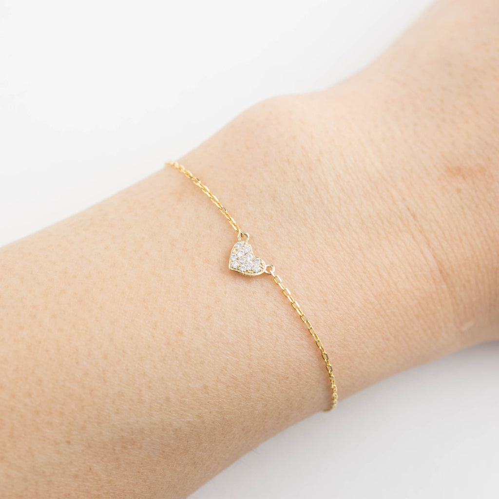 Pave Diamond Heart Bracelet