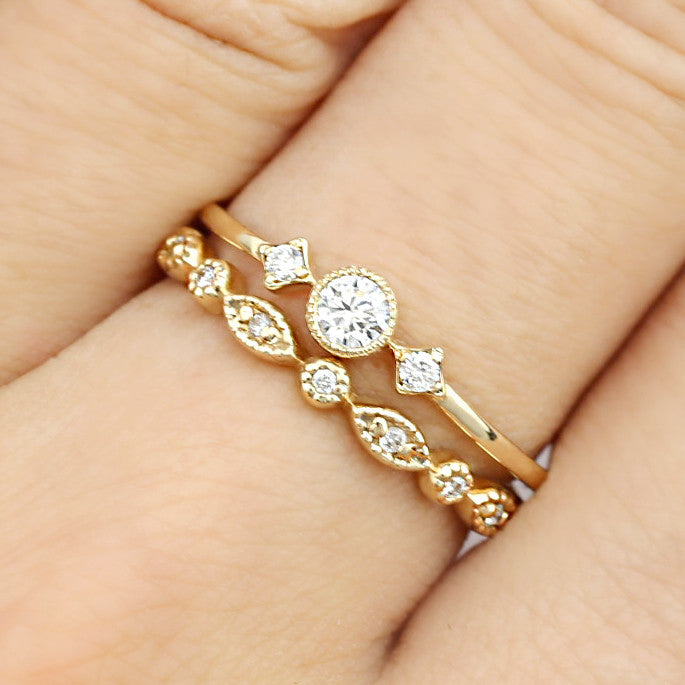 April - Diamond Star & Moon Ring