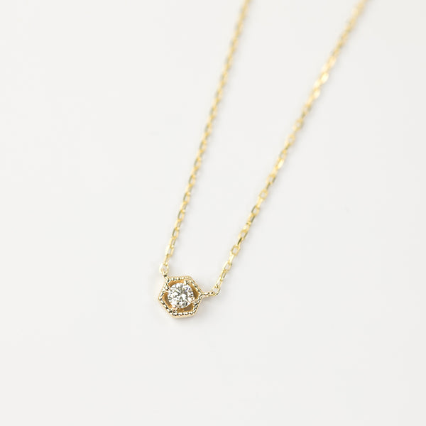 Milgrain Hexagon 0.03~0.11ct Diamond Necklace