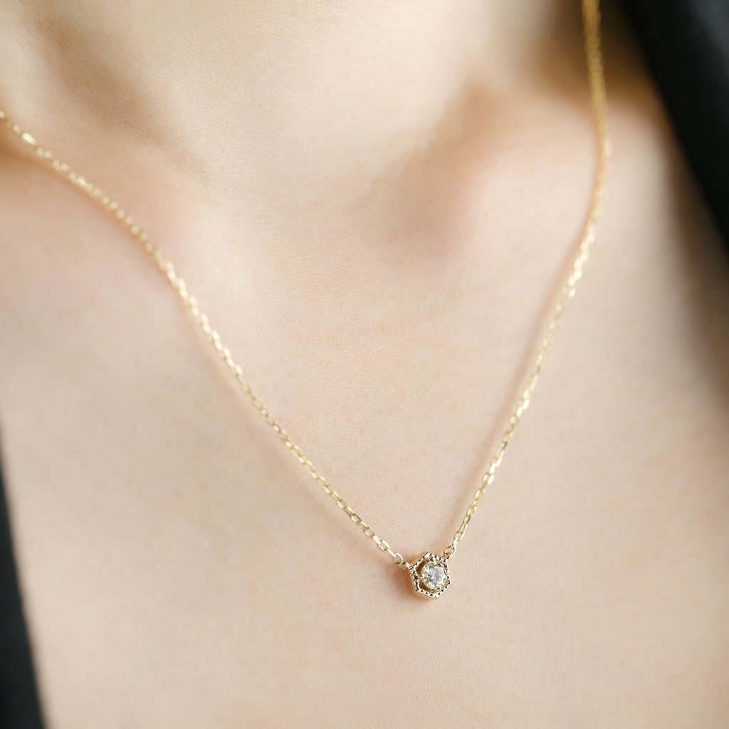 Milgrain Hexagon Diamond Necklace