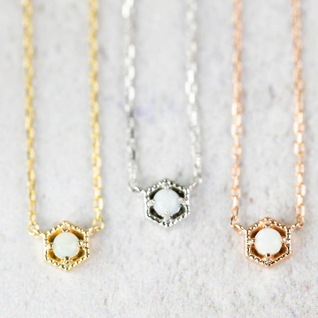 Milgrain Hexagon Opal Necklace
