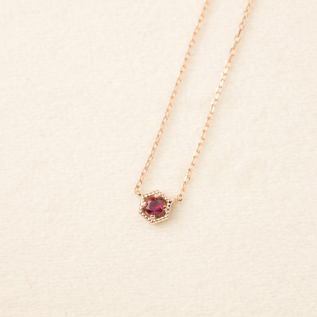 Milgrain Hexagon Ruby Necklace