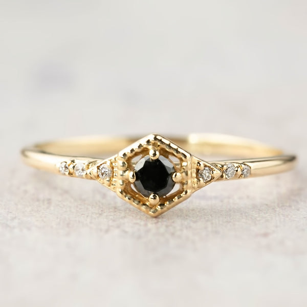 Hexagon Isabel Ring - Black Diamond