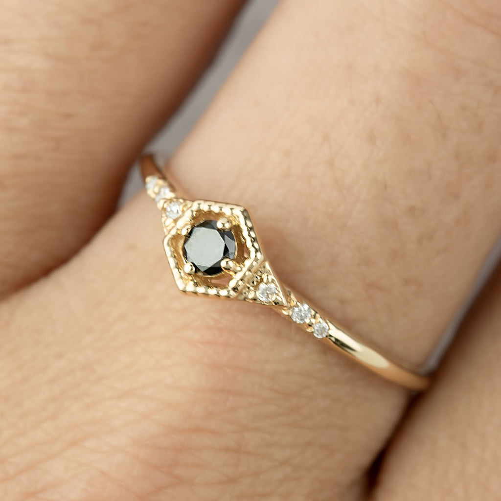Decorative Hexagon Black Diamond Ring -0.12ct